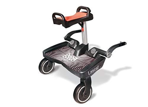 Lascal BuggyBoard Maxi+, Planche BuggyBoard avec assise et grande plateforme, Accessoire pour enfants de 2 à 6 ans (22 kg), Compatible avec toutes les poussettes, noire