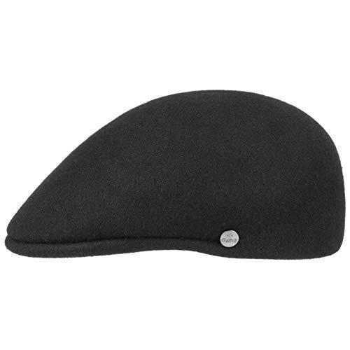 Lierys Outdoor Flatcap aus Wollfilz Herren - Mütze Made in Italy - Flatcap Wasserabweisend & Packable - Sportmütze Herbst/Winter - Schiebermütze schwarz XL (60-61 cm)