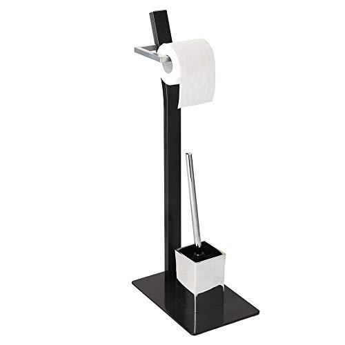 Allright Stand WC-Garnitur Toilettenpapierhalter Bürste mit Ablage Edelstahl Rostfrei Platzsparend flexiblem Einsatz