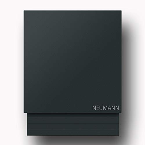 Briefkasten Edelstahl B1 Light Anthrazit, moderner Premium Design Wandbriefkasten mit Zeitungsfach inkl. Namensbeschriftung