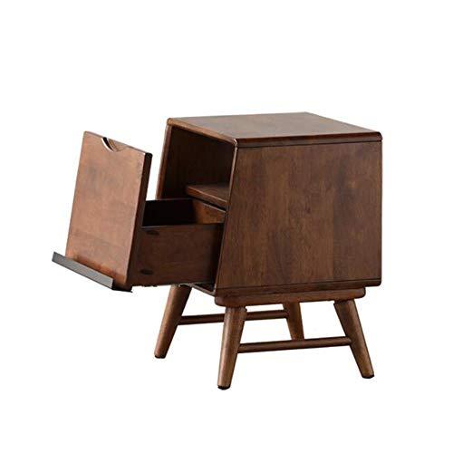 Jcnfa-bijzettafel massief hout nachtkastje, slaapkamer bijzettafel, enkele ladekast, met stopcontact, tijdschriftenkast