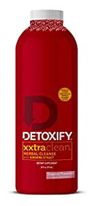 Detoxify Xxtra Clean Herbal ? Tropical Fruit Flavor- 20 oz   Professionally Formulated Extra Strength Herbal Detox Drink   Enhanced with Ginseng Extract & Milk Thistle Extract