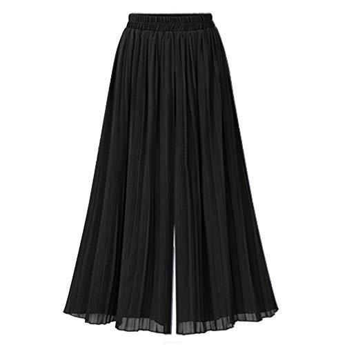 Damen Breites Bein Hosen Mode Elastisch Hose Einfarbig Elastische Taille Plissee Locker Wide Leg Pants Hosenrock (Color : Schwarz, Size : 3XL)
