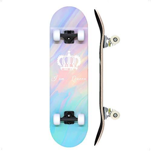 """TACKLY Skateboard Adulto Completo 7-9 Capas/Layers – monopatín Skate 31""""x8 Madera de Arce para niños y Adultos Unisex – Apto para Todos los Niveles Principiante intermedio avanzado (Crown)"""