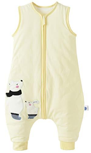 Chilsuessy Baby Schlafsack mit Füße 2 Tog Ganzjahres Schlafsack Baby Schlafsäcke ohne Ärmeln Babyschlafsack mit Beinen für Säugling Kinder, Hellgelb, 100cm/Baby Höhe 110-120cm