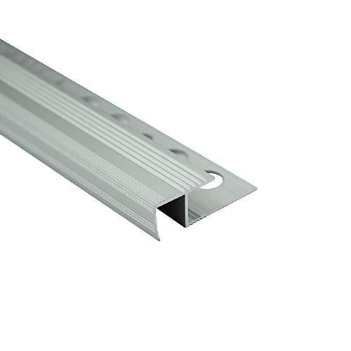 Alu Stufenprofil Fliesenschiene Profil Treppe Schiene matt L270 H10mm silber