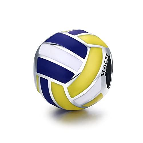 LISHOU 100% 925 Sterling Silber Volleyball Liebe Sport Ball Charm Beads Fit Original Frauen Armband Halskette Anhänger DIY Schmuckherstellung