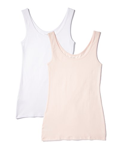 Iris & Lilly Unterhemd Damen aus Baumwoll-Jersey mit U-Ausschnitt, 2er Pack, Mehrfarbig (Weiß, Soft Pink), Medium
