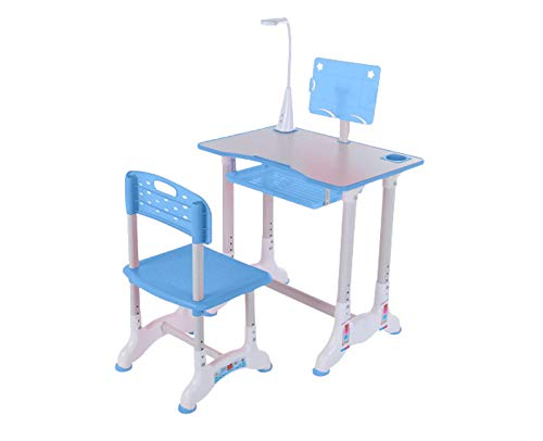 UPDD Kids Desk Table and Chair Set Height Adjustable Children Study Desk Table & Chair Drawing Set Bookstand Writing Tables Bookstand and Storage Drawer Kids Functional Desk (Blue1)