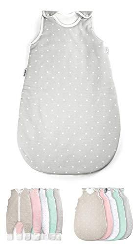 Ehrenkind® Babyschlafsack Rund | Bio-Baumwolle | Ganzjahres Schlafsack Baby Gr. 62/68 Farbe Grau mit weißen Punkten