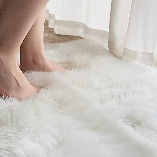 HLZDH Oveja de Piel sintética Felpudo Alfombra Antideslizante Lujosa Suave Lana Artificial Alfombra para salón Dormitorio baño sofá Silla cojín (45 x 45 CM, Blanco)