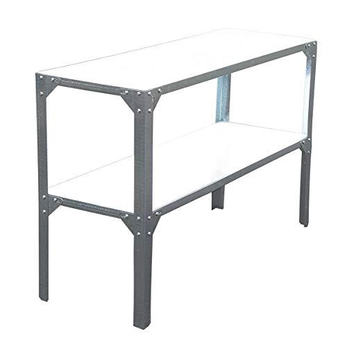 SVITA Pflanztisch Outdoor-Tisch Metall Garten-Tisch Werkbank Ablage Arbeitstisch rostfrei Gartenarbeit Silber 115 x 40 cm