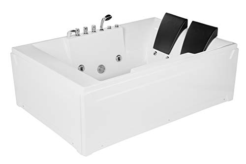 """Empava 72"""" Acrylic Whirlpool Bathtub 2 Person Hydromassage Rectangular Water Jets Alcove Soaking SPA Double Ended Tub Model 2020, White"""
