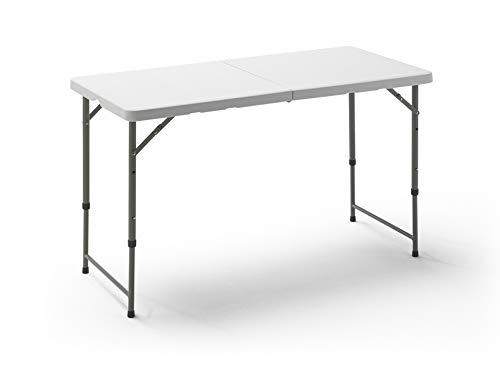 KG KITGARDEN - Mesa Plegable Multifuncional, 122x60x58/74cm, Blanco, Folding 122