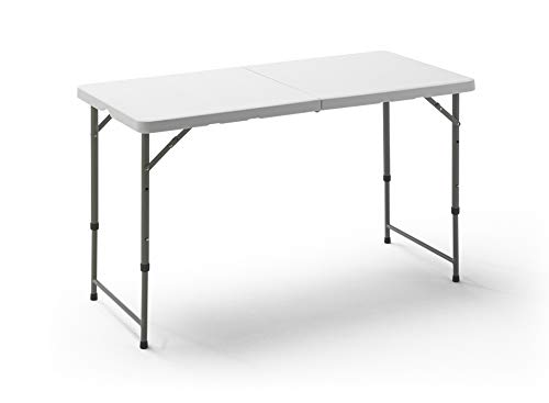KitGarden Folding 122 - Mesa Plegable, color Blanco, 122x60x52/74 cm
