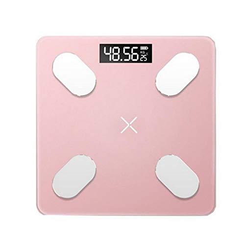 Badkamer Weegschalen Vloer Digitale lichaamsvetweegschaal Bluetooth Elektronische Mini Smart BMI Samenstelling Analyzer Weegschaal met APP, Roze