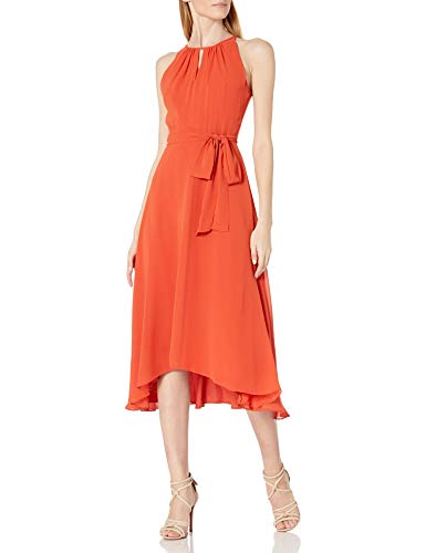 Tahari ASL Women's Ruched Neck Hi-Lo Dress, Spicy Orange, 18