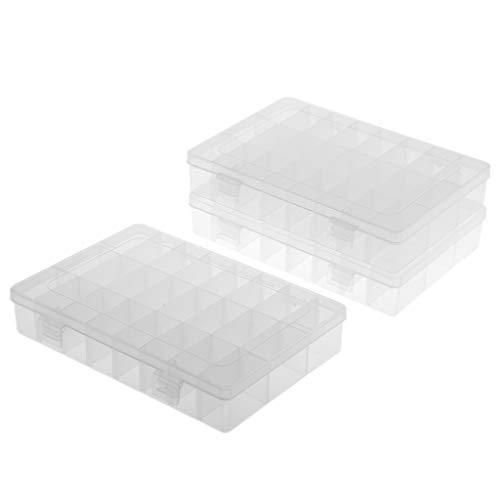 non-brand Sharplace Boîte de Rangement Plastique Boîte de Pêche pour Attirail Hameçon Leurres - Clair, 3X 24 Grille