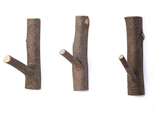 Garderobenhaken aus Natürliche Holz Haken Kleiderhaken wand Vintage Handtuchhaken Geeignet für wohnzimmer Ohne Bohren 3 Stück (Klein)