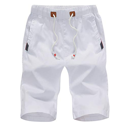TOPUNDER Sports Five-Cent Trousers Men's Summer Leisure Cotton Belted Beach Short Pants White