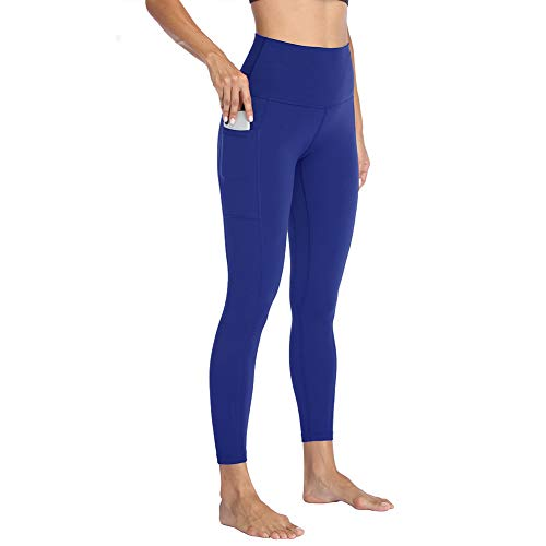 HIGHDAYS High Waist Yoga Pants with Pockets for Women - Soft Tummy Control 4 Way Stretch Workout Leggings (Royal Blue, Medium)