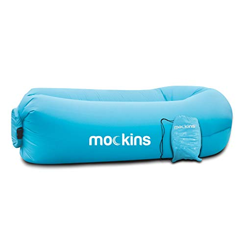 Mockins Inflatable Lounger Air Sofa Perfect for Beach Chair Camping Chairs or Portable Hammock and Includes Travel Bag Pouch and Pockets   Easy to Use Camping Accessories -Blue Color