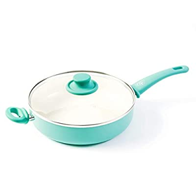 "GreenLife Soft Grip 12"" Ceramic Non-Stick Covered Jumbo Sauté Pan"