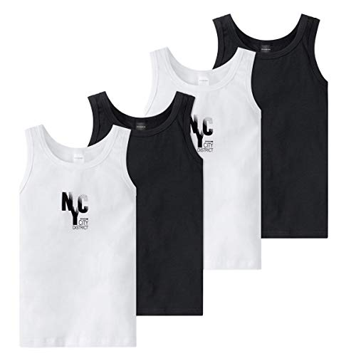 Schiesser - Teens Boys - Unterhemd - 4er Pack (140 Weiß/Grau)