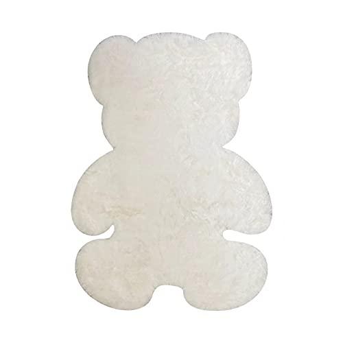 HEPAI Oso Alfombra súper Suave Alfombra de Seda Interior Moderno Sala de Estar Dormitorio Alfombra Antideslizante Blanco marrón niño Felpudo (White,75x105cm)