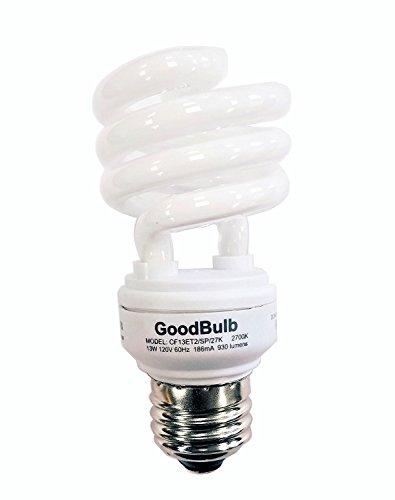 13 Watt Compact Fluorescent Bulb - Warm White Light Bulb - Ultra Mini Spiral CFL Light Bulbs - 2700K - E26 Base - 4 Pack - GoodBulb