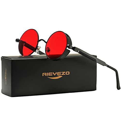 Round Steampunk Sunglasses for Men Women Gothic Glasses John Lennon Style Metal Frame 100% UV Blocking Lens (New Black/Ocean Red)