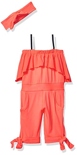 Limited Too Baby Girl's Capri Jumpsuit and Head Band Set Pants, Neon Red, 12M