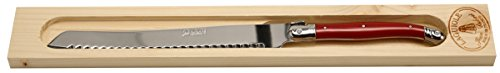 Jean Dubost Bread Knife With Handle In Wood Box, Red