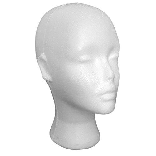 Vovotrade® Femme Styromousse Perruque Tête de mannequin femme avec oreille Styromousse Perruque Mannequin Stand Affichage Tête perruques Tête de mannequin Wig de mannequin femme mousse tête (Blanc)