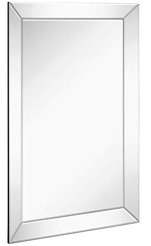 Large Framed Wall Mirror with Angled Beveled Mirror Frame | Premium Silver Backed Glass Panel Vanity, Bedroom, or Bathroom | Luxury Mirrored Rectangle Hangs Horizontal or Vertical (24″ x 36″)