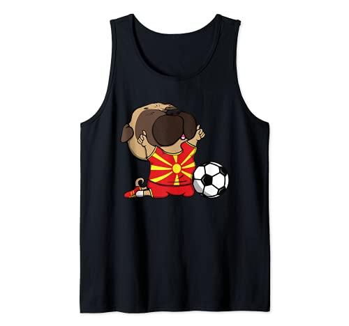 Pug Macedonia Ftbol Fans Jersey Macedonia Amantes del Ftbol Camiseta sin Mangas
