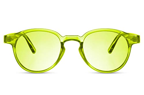 Cheapass Gafas de sol Rojoondas Popular Amarillas Montura Fluor Neon con Lentes Amarillas para Hombres y Mujeres