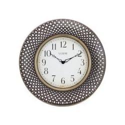 La Crosse Clock BBB86507 16 Inch Antiqued Brown Lattice Round Analog Wall Clock
