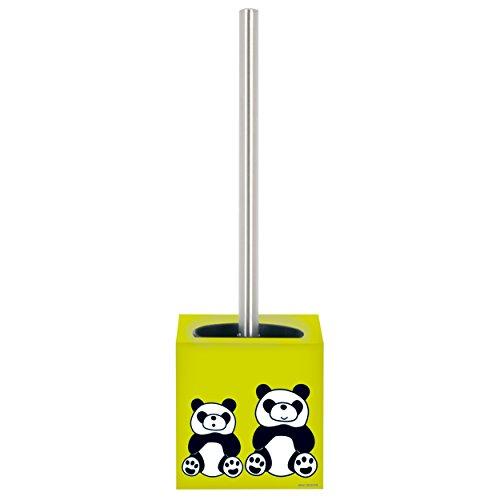 MSV 141394 Brosse de WC Panda, Acier Inoxydable, Argent/Vert/Noir/Blanc, 30 x 20 x 15 cm