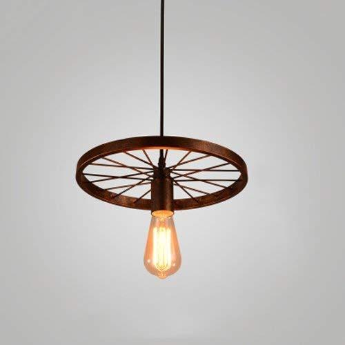 Lámpara colgante de rueda Lámpara de estilo de escalera tipo loft Lámpara de araña colgante Lámpara vintage Bombillas de hierro negro Interior de la casa Lámpara colgante de techo Granero Accesorios d
