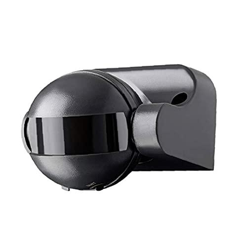 Sensor PIR al Aire Libre montado en la Pared de la Superficie del Detector de Movimiento Rango de hasta 12 m de 180 Grados Gira sobre un Eje 220 de Calidad confiable LED Negro Luz