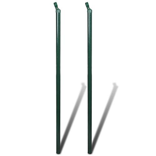 Festnight 2 Stücke Metall Zaunstrebe Zaunpfahl Gartenzaun Strebe Höhe 175cm Dunkelgrün für Maschendraht Maschendrahtzaun