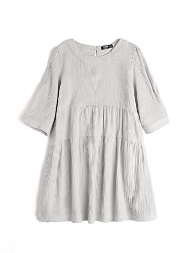 YOINS Sexy Kleid Damen kurz Sommerkleid für Damen Babydoll Kleider Brautkleid Tshirt Kleid Rundhals Langarm Minikleid Langes Shirt Lose Tunika Strandkleid Kurzarm-Hellgrau M