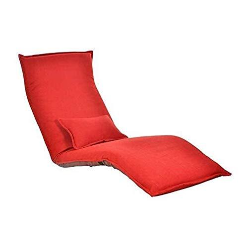 Silla Acolchada de Suelo Piso Sofá Sillón reclinable Silla reclinable sofá Perezoso Plegable Creativo Individual Balcón Mirador Tumbona (Color : Big Red)