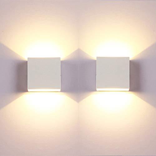 Glighone LED Wandleuchten Indoor, 2Pcs LED Wandleuchte Up Down 6W Modern Wandlampe LED Wandleuchte Innen Leuchten für Badezimmer, Wohnzimmer, Schlafzimmer, Flur, Balkon, Treppenhaus - Warmweiß