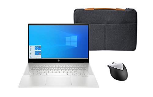 HP Envy 15-ep0011na 15.6-inch Full HD Touchscreen Laptop with 2.4 GHz USB Wireless Rechargeable Mouse and Urban 15.6 Inch (39.6 cm) Grey Carry Sleeve