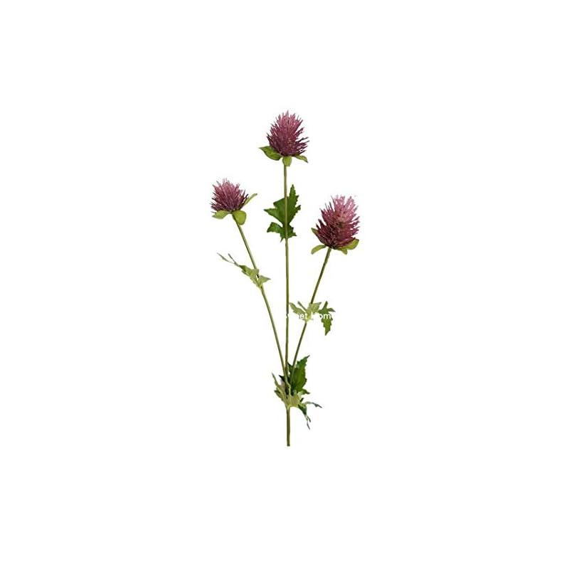 silk flower arrangements sweet home deco 23'' faux artificial thistle single spray (3 heads) craft flowers