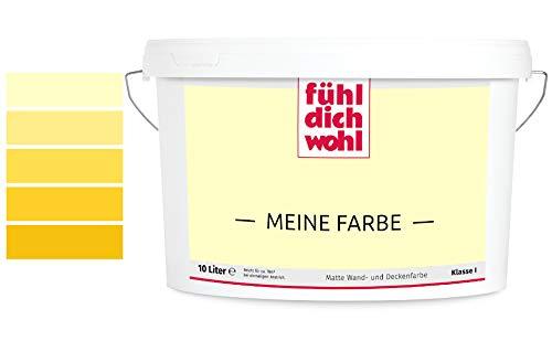 Fühl Dich Wohl Meine Farbe gelb, matte Wandfarbe gelb, hohe Deckkraft, verschiedene Gelbtöne zur Auswahl (5L,Buttergelb E7-21)