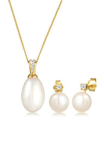 Diamore Set di Gioelli da Donna Oro Giallo 14K con Diamante Bianco, Taglio Rotonda, Perle Coltivate d'Acqua Dolce