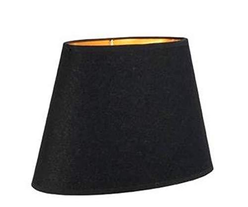 Unbekannt hochwertiger Leinen Lampenschirm oval - schwarz - innen Gold - 28 cm